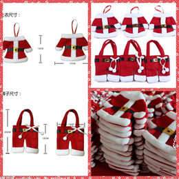 Wholesale Cheap Knife Bags - Cheap Christmas Table Decoration Ornament Santa Silverware Holder Dining Table Knife Fork Restaurant Hotel Party Dresses Fork Knives Bags