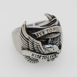 Wholesale Tops Steel Eagle - 2016 fashion Hot Ride To Live Eagle Biker Ring 316L Stainless Steel Top Quality Flying Eagle Cool Motorbiker Ring