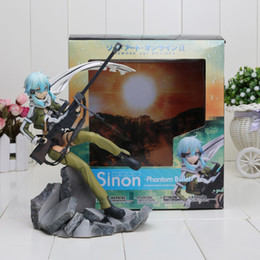 "Wholesale hottest game online - Wholesale-Hot Game Anime GGO Asada Shino Sinon Sniper Rifle Sword Art Online Series Phantom Bullet 8"" Figure Toys New Box"