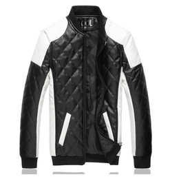 Wholesale Leather Motorcycle Jacket Small - Men Handsome windproof waterproof leather jacket Fly boutique Luxury fashion brand Diamond lattice Cool stitching motorcycle caot