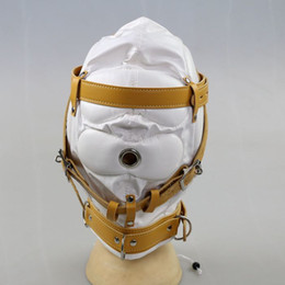 Wholesale Face Mask Woman Sex - Bondage Gear Sex Head Hoods Face Head Mask Headgear BDSM Adult Games Sex Toys for Women HMHD-1001B White
