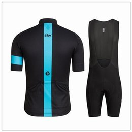 Wholesale Cycling Jersey Skinsuit - cheap Sky Cycling Jersey Set Short Sleeve With Cool Max Padded Bib Pants Polyester Elastic Bicycle Wear Anti Pilling Skinsuit For Men
