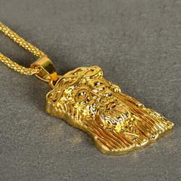 Wholesale Jesus Head Jewelry - Luxury 18K gold Jesus Portrait Necklace men hiphop necklaces head hip hop statement necklace rock jewelry Christmas gift 160671
