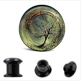 WHOLESALE 64pcs de vis acrylique UV Fit amour Tung Tree Logo oreille jauge bouchons et tunnels de chair, oreille étirement Expander, 4 MM-16 MM ? partir de fabricateur