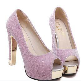 Elegantes zapatos de boda de dama de honor lavanda plateada vestido de gala zapatos de plataforma gruesa talón bombas tamaño 34 a 39 desde fabricantes