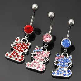 Wholesale Cute Navel Jewelry - 3 Colors Crystal Stone Sweet Cute Cat Rhinestone Navel Ring Dance Puncture Medical Stainless Steel Jewelry 10PCS Lot