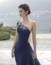 Wholesale Long Tail Elegant Gown - 2016 Sexy One-Shoulder Elegant Navy Blue Evening Gowns See Through Back Embroidery Appliques Long Tail Formal Prom Dress