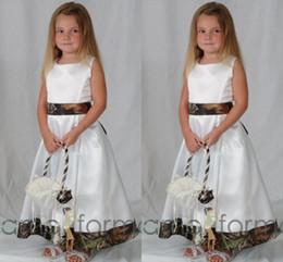 Longitud del tobillo Camo Vestidos de las niñas de flores para bodas Crew Crew A Line Vestidos lindos de los desfiles para las muchachas 2016 desde fabricantes