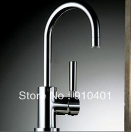 Wholesale Kitchen Faucets Copper Finish - Wholesale-Free shipping solid brass chrome finish Kitchen faucet rotary hot and cold water sink mixer hot and cold copper material tap