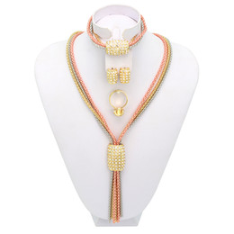 Wholesale Costume Fashion Christmas Jewelry - WesternRain Promotion Fashion Crystal New Arrival Rose Gold Silver Matched Women Costume African Tassel 2016 Christmas Jewelry Set A089