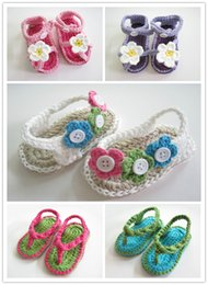 Wholesale Newborn Knitted Sandals - 2015 New Crochet newborn baby girl summer shoes baby moccasins hand knitted baby sandals crochel shoes sole infant girl slippers