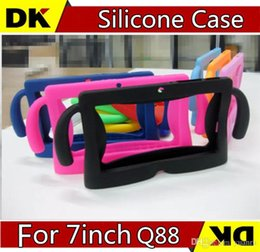 Wholesale Tablet Pc Gel Skin Cases - 10pcs 7 colors Kids Soft Silicone Rubber Gel Case Cover For Q88 A13 A23 A33 Q8 Android Tablet PC