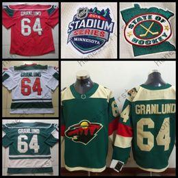 Wholesale Cheap Wild Hockey Jerseys - 2016 Stadium Series #64 Mikael Granlund Jersey Minnesota Wild Jerseys Green Red White Cheap Ice Mikael Granlund Hockey Jersey