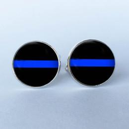 Wholesale Cuff Links Studs - 2016 New Design Thin Blue Line Stud CuffLinks , Striped Jewelry, Black and Blue art photo Cuff Links glass dome Cuff Links 6