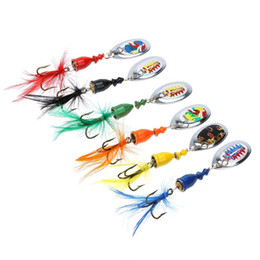 Wholesale 7cm Lures - 6Pcs 7cm 4g Spoon Lure Hard Fishing Lures Noise Sequin Paillette Fly Fishing Baits with Feather Treble Hook Lure Set