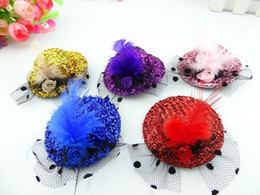 Wholesale Girls Hat Mini - Retail Girls Mini Hat Hair Clip Feather Rose Top Cap Lace fascinator Costume Accessory Party kids headwear