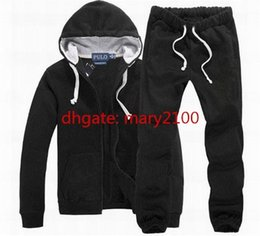 Wholesale Ankle Length Men S Coat - Mens Polo Tracksuits Hooded Sportsuits Winter Solid Sweatshirts Jacket Hoodies Sportswear Small Horse Hoodies coat + pants Set