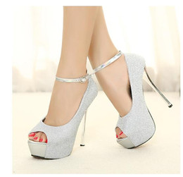 Wholesale Pumps Glitter White - 2012 Party Wear White Ankle Strappy Peep Toe High Platform Stiletto Dress Shoes 4 Colors