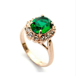Wholesale Gold Plated Emerald Rings - Wholesale-Top Quality 18K Gold Plated Emerald Finger Rings Elegant Brand Jewelry CZ Diamond Austrian Crystal For Women Wholesale