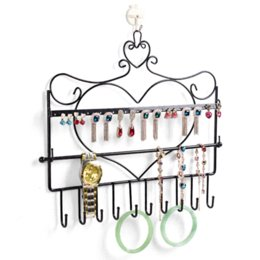 Wholesale Wall Mount Display Frames - Free shipping Wrought iron wall mounted frame earring necklace holder bronze accessories storage rack jewelry plaid display rack