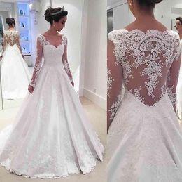 Wholesale Transparent Bodice Wedding Dress - 2017 Vintage Lace Long Sleeve Wedding Dresses Sexy V-Neck Wedding Bridal Gowns Transparent Behind Plus Size Custom Made