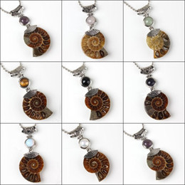 Wholesale Natural Fossil - wholesale 10Pcs Charm Silver Plated Natural Druzy Ammonite Fossil Pendant Amethyst Rose Quartz Stone Beads Pendant Jewelry For Necklace
