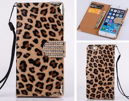 Wholesale Leopard Diamond Case Iphone - Bling Diamond Buckle Leopard Wallet Flip PU Leather Bag Case With Card Slots For iPhone 4 4S 5 5S 6 6G 4.7 Plus 5.5 iPhone6