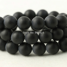 Wholesale 8mm Black Beads - free shipping 74-904 4mm 6mm 8mm 10mm 12mm round black Dull Polish Matte Onyx Agate Stone beads Loose Beads for jewelry making