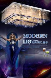 Montaje de barra de techo online-Luz de techo brillante moderna llevada de la lámpara dimmable, lámpara lujosa de los colgantes del cristal de la decoración, barra transparente del cristal