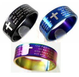 Wholesale Mens Crosses - Wholesale 25pcs English Lords Prayer Cross Stainless Steel Rings Mens Jewelry Lots