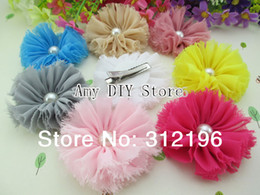 Wholesale Diy Flower For Hairclip - Free Shipping!40pcs lot Chiffon Shabby Flower With Pearl Hairclip For Girls DIY Photography Props Kids Boutique Hair Accessories