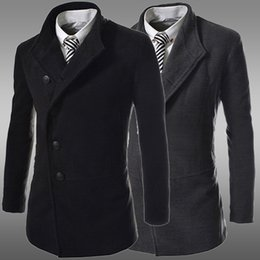 Wholesale Korean Clothes For Winter - 2015 New Fashion Men Trench Coats Korean Slim fit Business casual wool blended outwear men's clothing for winter autumn overcoat @1242