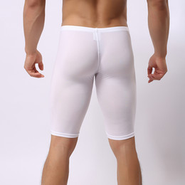 Wholesale Long Boxers - Sexy Gay Underwear Men Long Johns Boxers Man Solid Thin Nylon Solid Soft U Convex Pouch Mid-waist Long Breathable Underpants K012-5