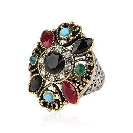 Wholesale Turquoise Wedding Rings Women - Fine Jewelry Vintage Turquoise Rings For Women Popular Dual Color Metal Plating Geometric Punk Rock Ring