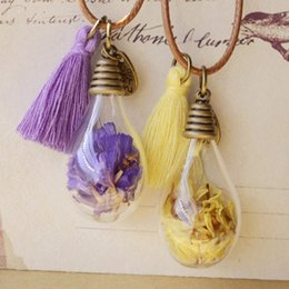 Wholesale Vintage Glass Bottles - Vintage Wish Bottles Bulb Necklaces Real Dried Yellow Purple Lavender Flowers Tassels Glass Vial Women Long Costume Sweater Necklace nxl050