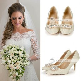 Wholesale custom made heels for women - New Arrival Pearls Crystals Wedding Shoes 8.5cm High Heel Bridal Shoes Custom Made Ivory Party Women Shoes For Wedding LSDN-1502 2015