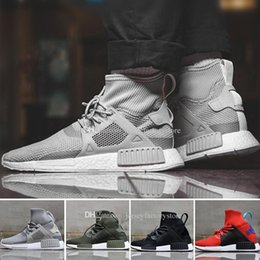 Wholesale Cheap Womens High Tops - Discount Cheap New NMD XR1 Running Shoes for Men and Womens NMD High Top Sneakers Grey Color Knitting Boots Size Eur 36-45 Drop Shipping