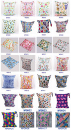 Wholesale Reusable Baby Diaper Bags - 28 style Double Zipper Wet Bags Baby Cloth Diaper Solid Wet and Dry Bags Waterproof Reusable WetBag 33*28cm Free shipping