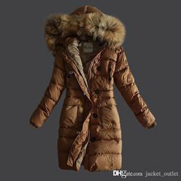 Wholesale Women Winter Long Coats Cheap - Fashion Winter Down Coat Women Long with Raccoon Fur Slim Brand Designer Hoodies Parkas ladies Outwear Brown Black Plus Size Cheap Sale