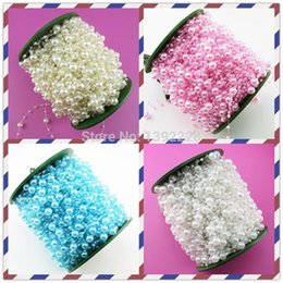 Wholesale Table For Cars - High Quality!19colors Wedding Decoration 60m roll Pearl Bead Strands For Wedding Decoration Party,Rose,Table,Flower Garland,Car