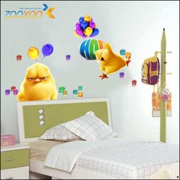 Wholesale Chicken Wall Decal - Whole ZooYoo Original Chicken Wall Stickers Hop Chicks Versus Bunnies Carlos&Phil Cartoon Wall Decals LOT=30 PCS Free Shipping