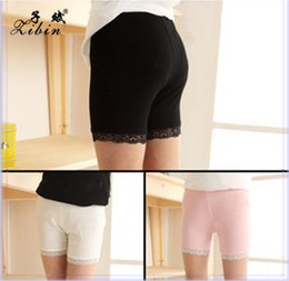 Wholesale Yellow Lace Leggings Baby - Summer Girls Fashion Short Leggings Tights Pure Cotton Lace Girls Safety Pants White Pink Black Grey Baby Girl Short Tights Children Shorts