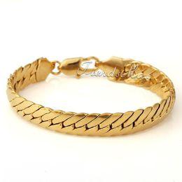 Ouro cheio pulseira link de corrente on-line-Venda por atacado - 11MM MENINOS MENINOS Cadeia FECHAR CURB Link Cubano Pulseira 18K Gold Filled Bracelet Jóias Presente 18KGF GB35