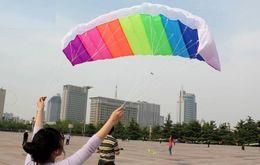 Wholesale Kite Big - Wholesale-High quality dual line 1.2m 1.4m parafoil kite with control bar line power braid sailing kitesurf rainbow sports beach