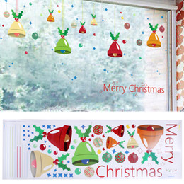 Wholesale Merry Christmas Boxes - Merry Christmas Wall Sticker DIY Windbells Wall Snowflake Cabin Snowman Window Stickers Ornaments Decorations Drop Ship