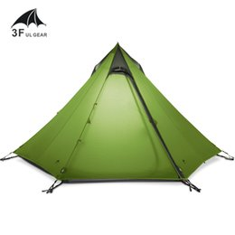 Wholesale Outdoor Large Camping Tent - Wholesale- 3F UL GEAR Ultralight Outdoor Camping Teepee 15D Silnylon Pyramid Tent 2-3 Person Large Tent Waterproof Backpacking Hiking Tents