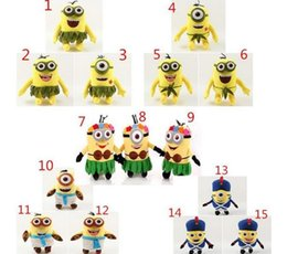 Wholesale Minions Kevin - Minions Plush Toys 20CM Despicable me Kevin Bob Stuart Stuffed Dolls Hawaii Hula Skirt Style Toys Kid Birthday Gift free shipping