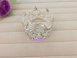 Wholesale Small Wedding Crowns - Cute small Princess Wedding Veils Crystal Crowns Cinderella Girl Hair Bridal Accessories Tiaras 2015 Best Selling