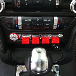 Wholesale Ford Buttons - Car Navigation Decoration Button Covers Central Control Interior Accessories ABS Fit For Ford Mustang 2015-2016 Styling