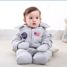 Wholesale Zipper Gloves - Baby Down Coat Footies Hooded Removable Glove Hat Zipper Waterproof Vest Inside Boy Girl Infant Toddler Cold Outwear Winter Jumpsuits